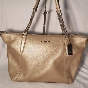 Coach platinum leather tote
